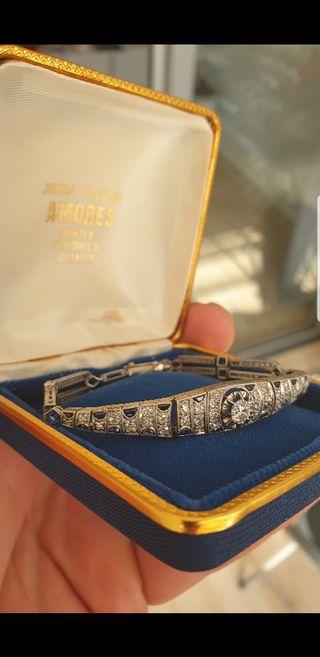 Pulsera platino diamantes y zafiros