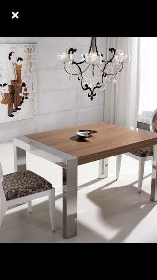 Mesa comedor+mesa auxiliar baja y 6 sillas