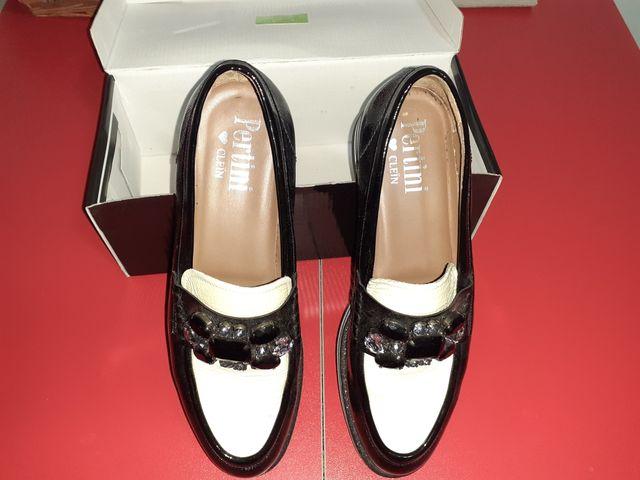 Zapatos Pertini Negro Con Blanco...