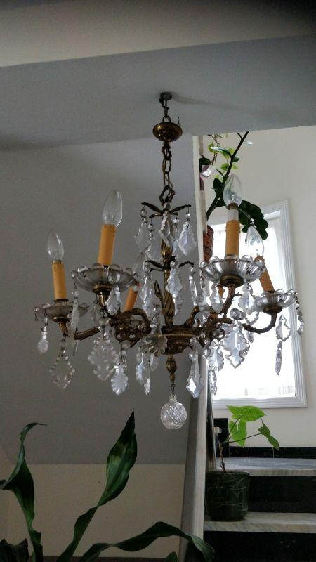 Lámpara vintage en bronce y cristal