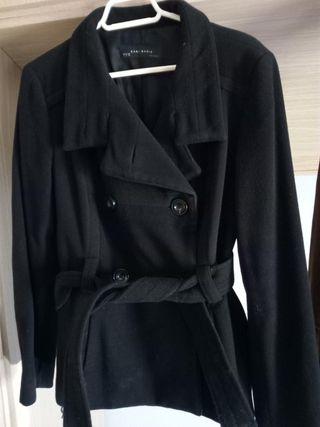 abrigo de zara negro de paño