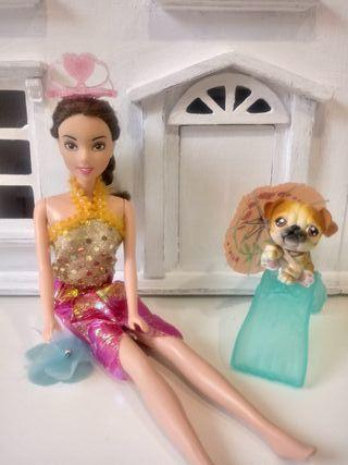 muñeca de mattel con mascota