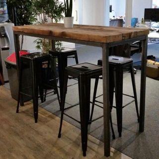 Barras americanas mesas industriales madera acero
