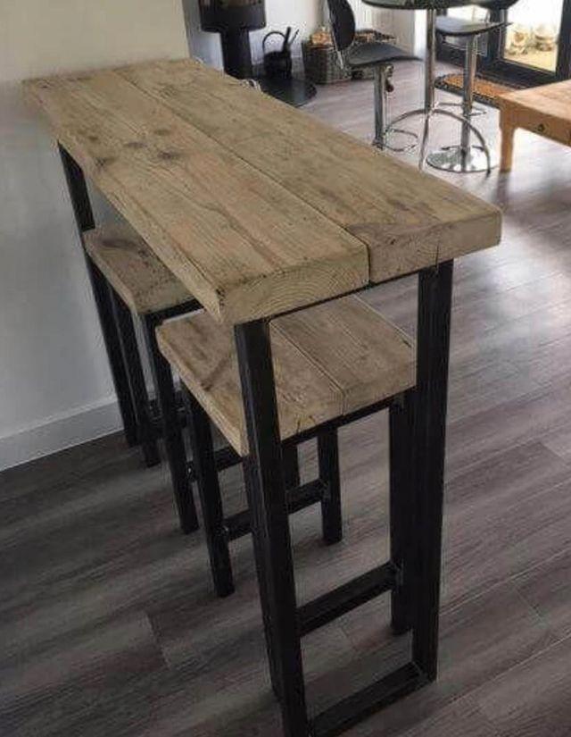 Mesa alta barra industrial madera taburetes
