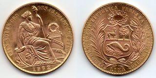 1962 Perú, 100 soles de Oro