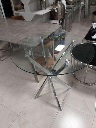 mesa redonda cristal metal NUEVA hago envios