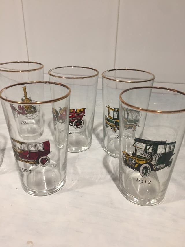 6 vasos motivo coches antiguos
