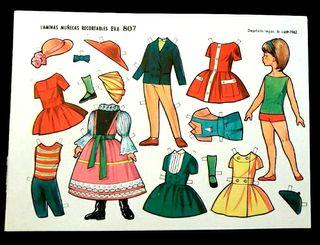 Lámina muñeca recortable Eva 807 año 1962