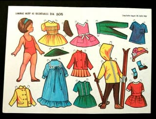 Lámina muñeca recortable Eva 808 año 1962