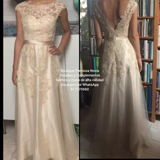 Vestido novia a medida color champán por encargo