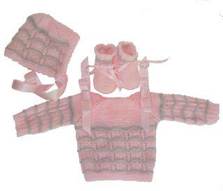 Conjunto bebe 0-3 meses lana rosa y gris, nuevo