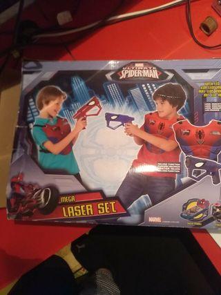 Juego pistolas laser y armaduras Spiderman
