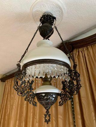 Lámpara Quinqué Antigua Hierro