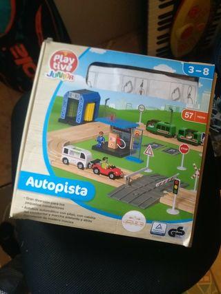 Autopista juguete de madera