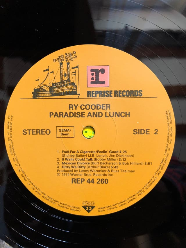 Vinilo LP. RY COODER -Paradise and lunch-
