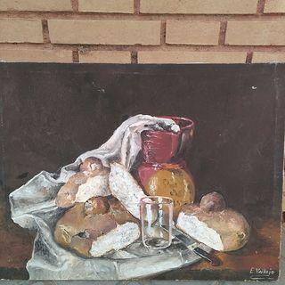 Cuadro óleo sobre lienzo antiguo Firma E. Vallejo