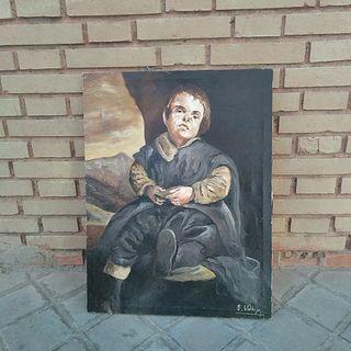 "Pintura lienzo al óleo ""Enano"" de Velázquez"