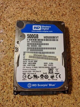 """Disco duro WD 500gb 2,5"""""""