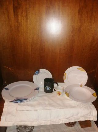 juego de platos y tazas de porcelana de bohèmia