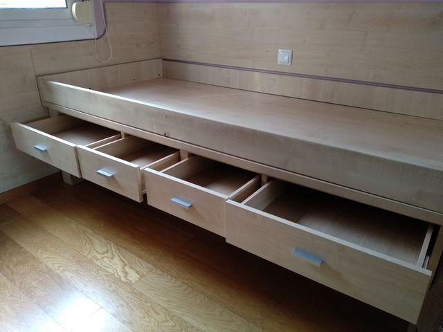 Estructura de cama nido con 4 cajones de madera