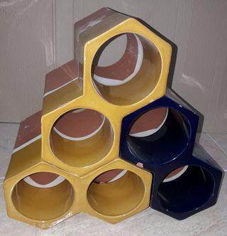 Botellero forma panal de abeja (3 piezas)