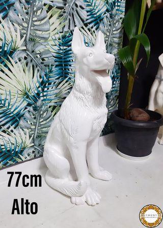 Perro Cerámica Vintage Blanco 77cm Alto