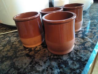 Lote de 4 vasos de barro
