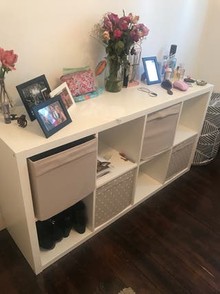 White Shelving Unit with Boxes