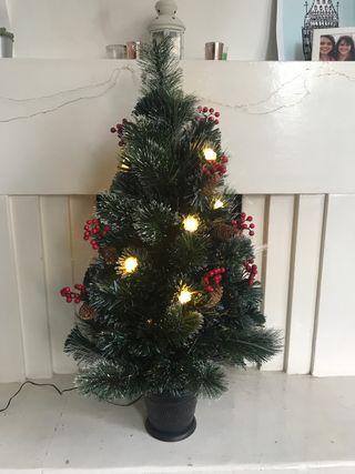 Plastic Light-Up Christmas Tree 90cm Tall