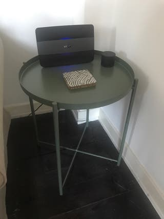Green Metal Tray End Table