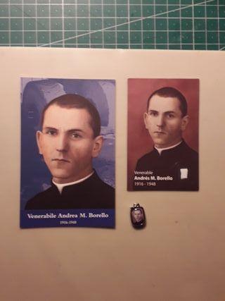 medalla y estampa religiosa relicario