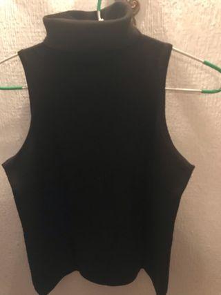 Jersey de cuello alto sin mangas en lana fina ma