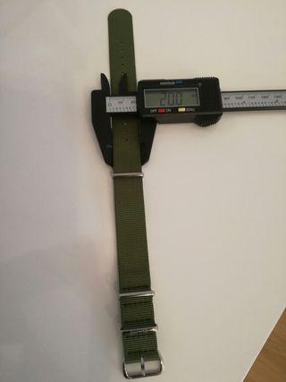 Correa reloj nato verde militar 20 mm.