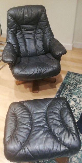 Sillón cuero, reclinable y giratorio