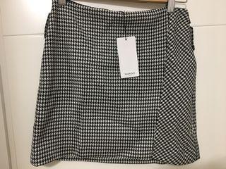Mini falda cuadros mango