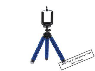 Trípode ajustable azul para móvil