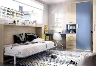 Habitación juvenil con cama abatible y armario rmb