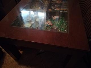 mesa con cristal elevable beige