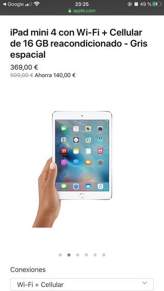 Ipad 4 mini con Wifi + cellular 16 Gb blanco