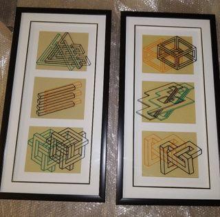 Par de cuadros contemporáneos ilusión óptica