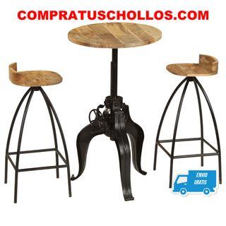 Juego de muebles de bar madera maciza 3 piezas