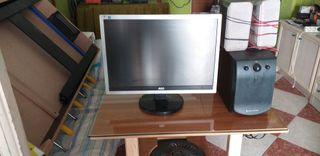 pantalla de ordenador y altavoz
