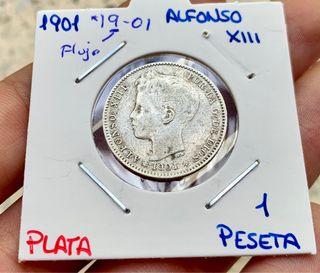 Moneda PLATA 1 Peseta 1901 *(19-01) ALFONSO XIII
