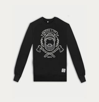 Woodlife Haches Sweat Col Rond Noir