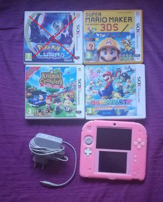 Nintendo 2DS rosa + juegos