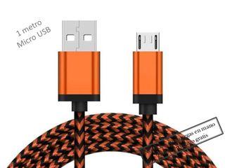 Cable cargador móvil tablet Naranja micro USB