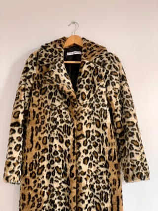 Abrigo Leopardo Pelo S, Mujer Mango