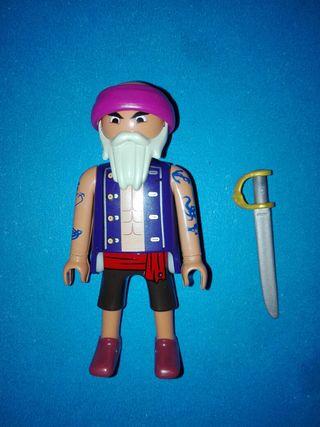Playmobil pirata calvo marinero corsario barco