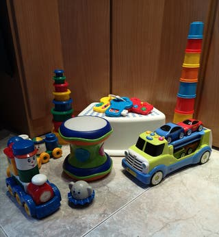 Lote juguetes didácticos +taburete baño