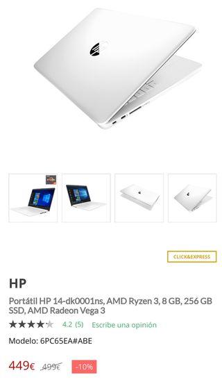 HP 14 PULGADAS Ryzen 3 3200u 256gb 8gb ram
